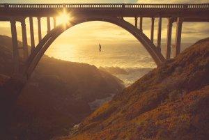 Highlining on the California coast.